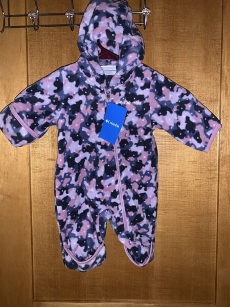 NWT $45 Columbia Fireside Cuddle Fleece Bunting Coverall girl 0 3 M Infant Baby