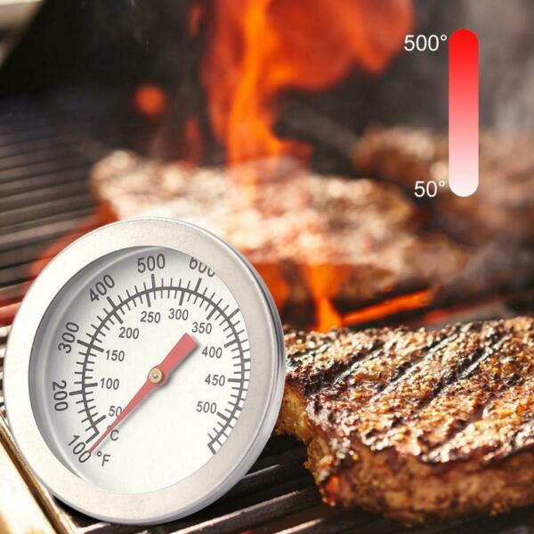 Barbecue BBQ Smoker Grill Thermometer Temperature Gauge 50 500°C Silver Durable