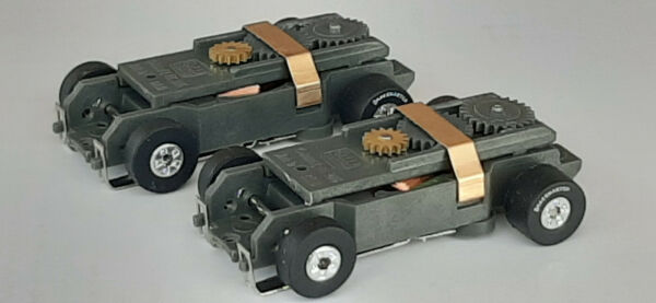 2 Auto World Short Tjet Chassis Rear RaceMaster HO Slot Car Chassis Fits Aurora $32.00