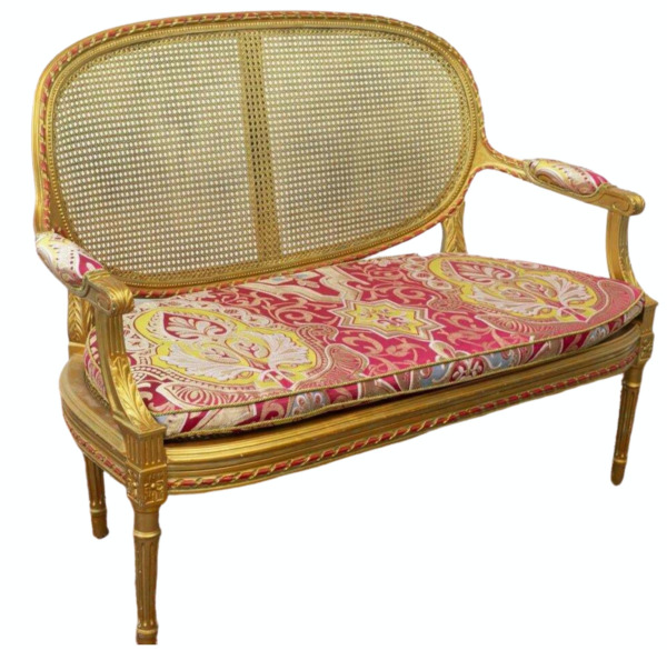 Antique Settee Caned French Louis XVI Style Giltwood 1800s Charming