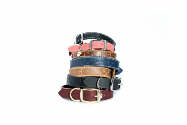 Euro Dog Leather Dog Collar Elegant Style Adjustable Buckle Made in USA Affordab $27.99