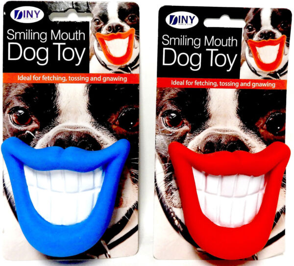 Smiling Mouth Squeaky Dog Toy Chew Novelty Gift Pet Toys Funny Blue or Red NEW  $6.15