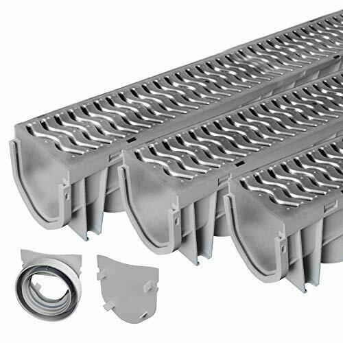 Drainage Trench amp; Driveway Channel Drain with Galvanized Steel Grate Pack of 3