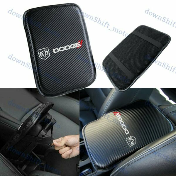 Embroidery For DODGE Carbon Fiber Center Console Armrest Cushion Pad Cover Mat $15.88