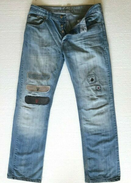 Ice Jeans Iceberg Mens Sz 36X34 Med wash Maserati Patches Vintage made in italy $95.00