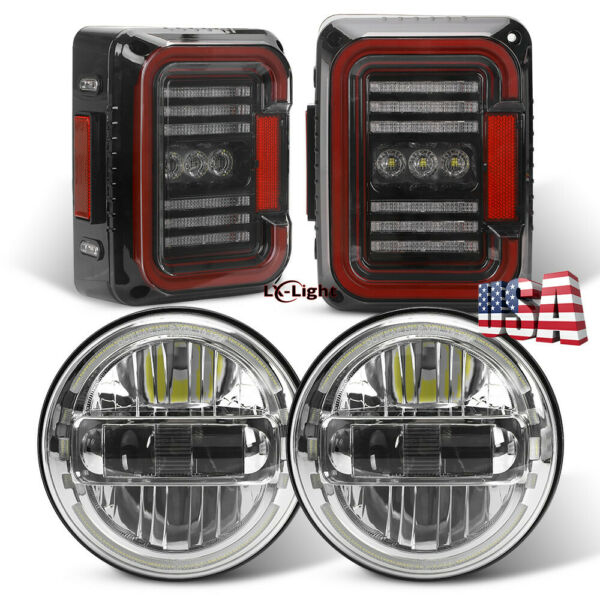 For Jeep Wrangler JK 07-18 7Inch Round Halo Led Headlights Tail Lights Combo Kit