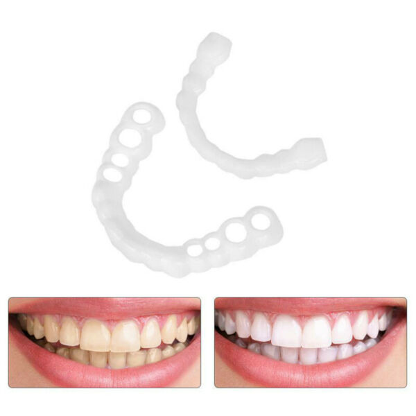 2PCs US Smile Snap On Teeth Fake Upper Lower Cosmetic Tooth Cover False Dentures $6.49