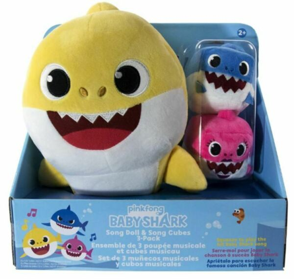 WowWee Baby Shark 3-Pack Sound Song Doll with Mommy and Daddy Song Cubes