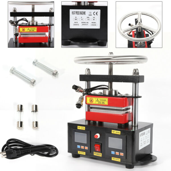 900W Hand Crank Rosin Press Machine Duel Heated Plates Heat Transfer 2.4