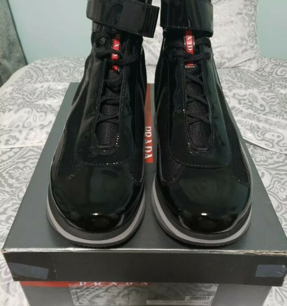 PRADA AMERICAS CUP HIGH TOP SNEAKERS 4T2393 Black patent leather 12 US NIB