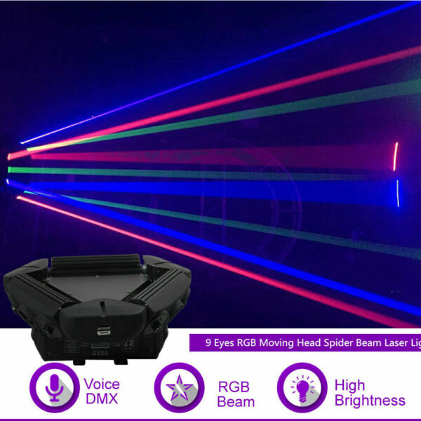 9 Eyes RGB Moving Head Spider Beam Laser Projector DMX DJ Show Stage Lighting