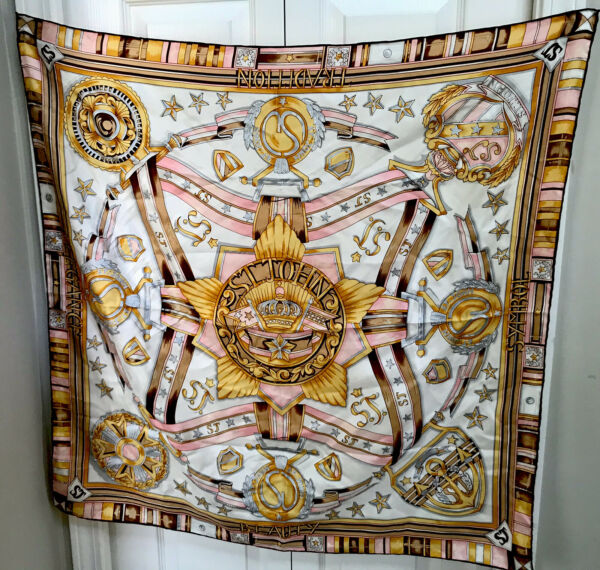 Vintage St. John 100% Silk Scarf Classic Elegance Flawless Condition