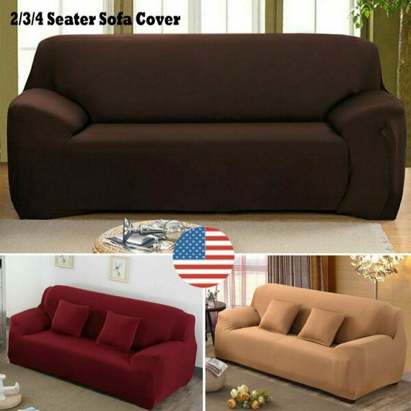 234 Seater Sofa Cover Solid Color Stretch Seat Couch Home Funiture Slipcovers $19.99