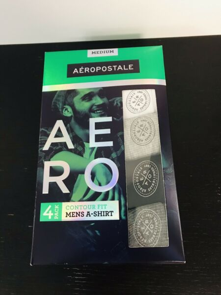 AEROPOSTALE Mens Under TANK TOP 4 pack Contour Fit Size Medium Fast Shipping $14.00