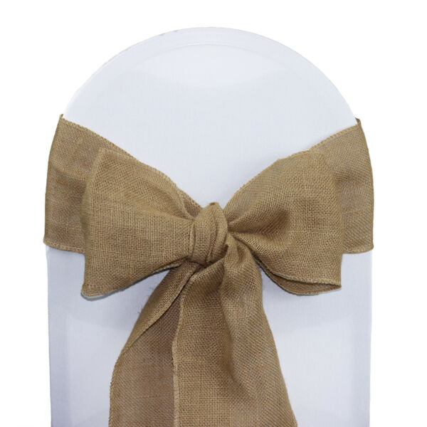 YCC Linens 10 Pack Burlap Sashes for weddings parties and special events