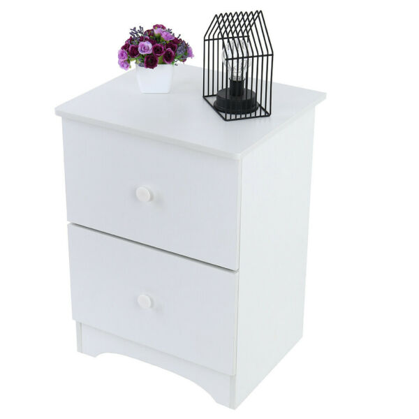 White End Side Bedside Table Nightstand Bedroom Decor w/ Drawer