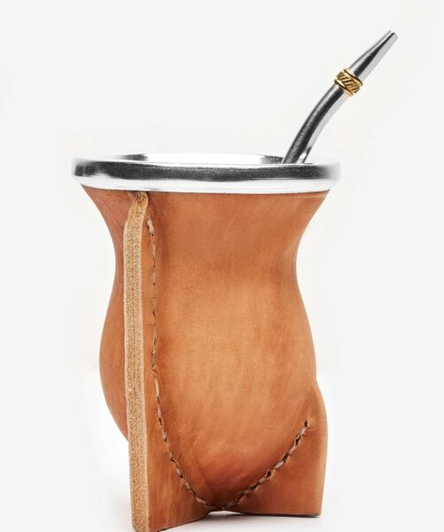BALIBETOV Leather Wrapped Handmade Yerba Mate Gourd Mate cup with Bombilla ...