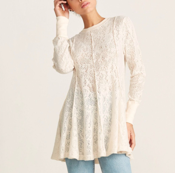 FREE PEOPLE WOMEN#x27;S IVORY LONG SLEEVE COFFEE IN THE MORNING LACE TUNIC TOP Sz S