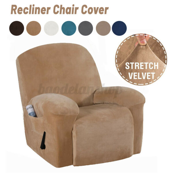 Velvet Soft Stretch Recliner Chair Slipcover With Pockets Sofa Protector Cover $37.99