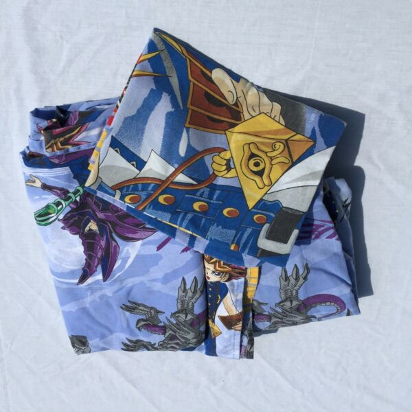 Yu-Gi-Oh 3 pc Twin Sheet Set Franco Let's Duel Flat Fitted Pillowcase