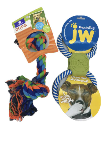 Pet Dog Tough Tug of War Rope Toy w Ring amp; Giggle Tug Giggles When Shaked NWT $25.00