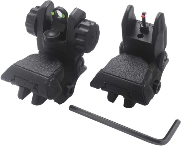 AWOTAC Polymer Black Fiber Optics Iron Sights Flip up Front and Rear Sights with $27.70