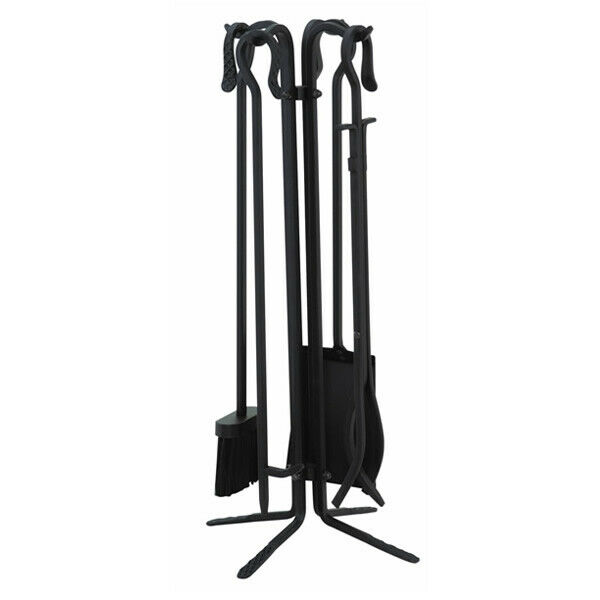 4 Piece Black Wrought Iron Fireplace Tool Set With Crook Handles T18070BK