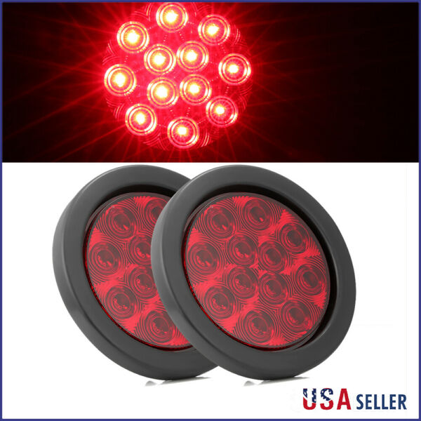 2x 4quot; Round Stop Turn Tail Brake Sealed Truck Trailer LED Lights W Rubber Mount