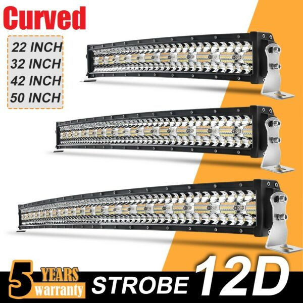 Curved Strobe Led Bar Light 22quot; 32quot; 42quot; 50quot; Combo Driving for Offroad ATV 4X4