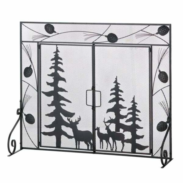 Woodland Scene Iron Fireplace Screen