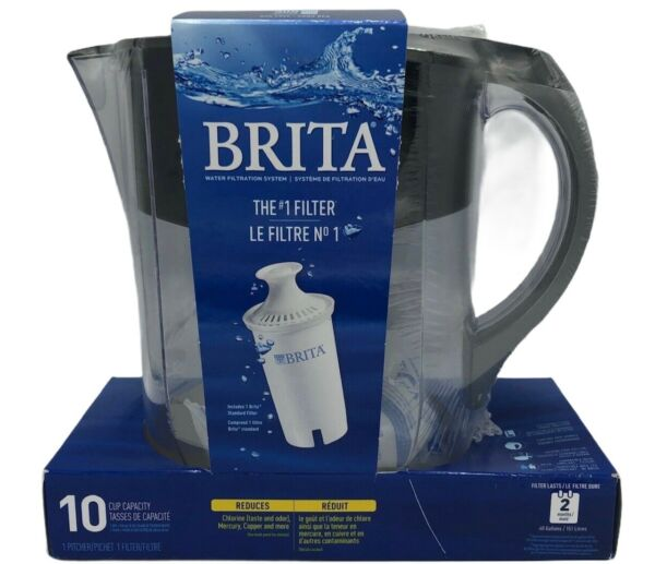 Brita Large 10 Cup Water Filter Pitcher with 1 Standard Filter BPA Free Black