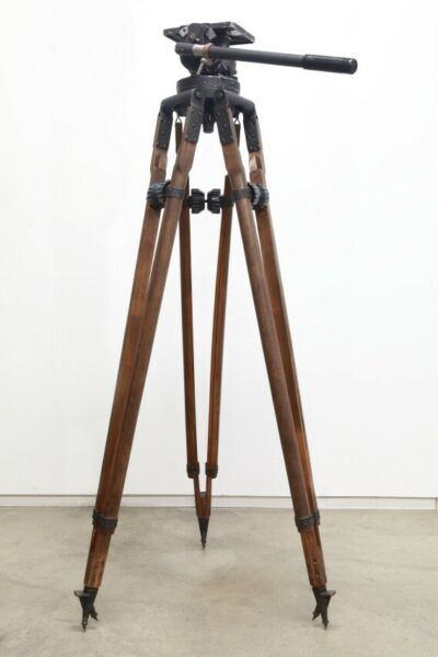Rare classic mid century heavy duty Mitchell tripod fluid head and legs sticks