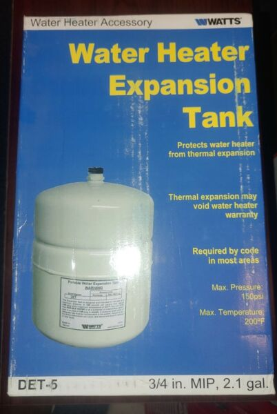 Watts DET 5 Water Heater Expansion Tank 3 4quot; MIP 2.1 Gallon Max 150 PSI NEW $32.00