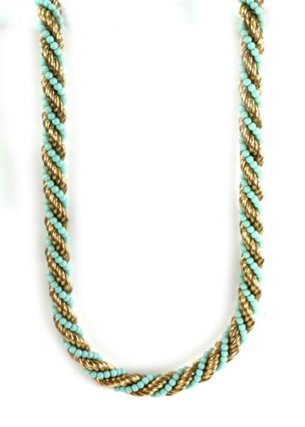 Vintage Turquoise 18k Yellow Gold 10mm Thick Twisted Rope Necklace 28