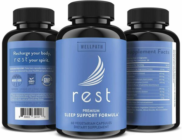 NEW Rest Natural Sleeping Pills for Adults 60ct Non Habit Forming