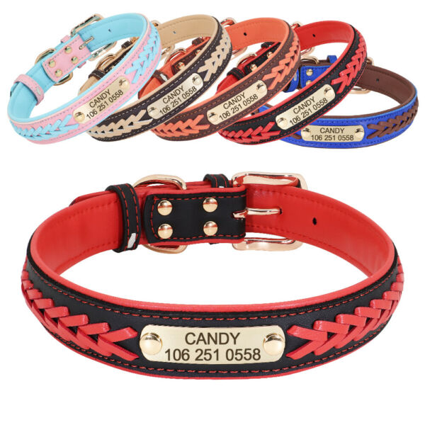 Braided Leather Dog Collars for Large Dogs Personalized Engraved ID Name Custom $9.99