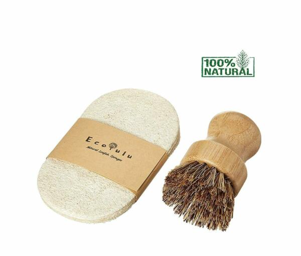 Nice Eco Friendly Set 6 Sponges Bamboo Brush Natural Cleaning Scrubber Dishes $29.00