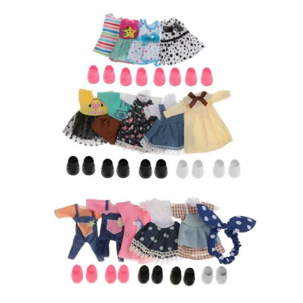 14 Set Mini Girl Dolls Clothes Outfits w Shoes Fit for 6inch Doll Dress Up