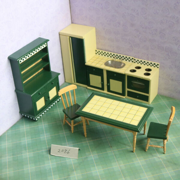 1:12 Doll House Kitchen 7-piece Set Mini Wooden Furniture Dining Table Chairs