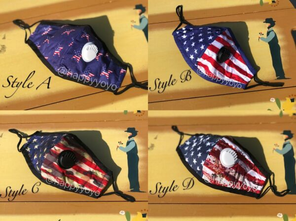 Face Mask American Flag Cotton Adjustable with Valve Washable Reusable CAMO