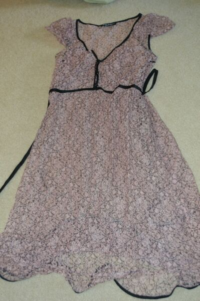 Vintage Betsey Johnson black pink lace dress size 8