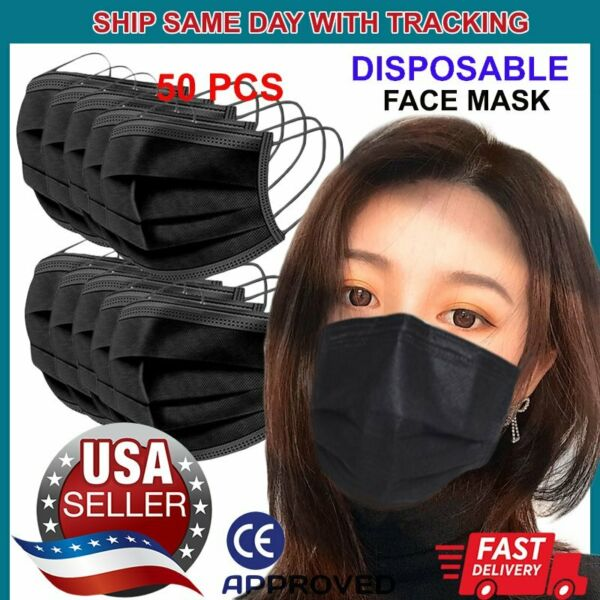 50 PCS Black Face Mask Non Medical Surgical Disposable 3Ply Earloop Mouth Cover $8.88