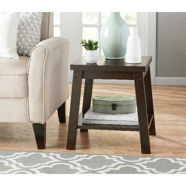 Small Side Table Open Shelf Wood Bedside Sofa End Tables Living Room Furniture $44.78