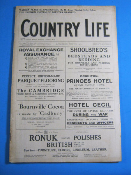 1915 COUNTRY LIFE MAGAZINE BRITISH MASTIFF DOG CARS LOWESBY HALL MACLEAN WWI $25.00