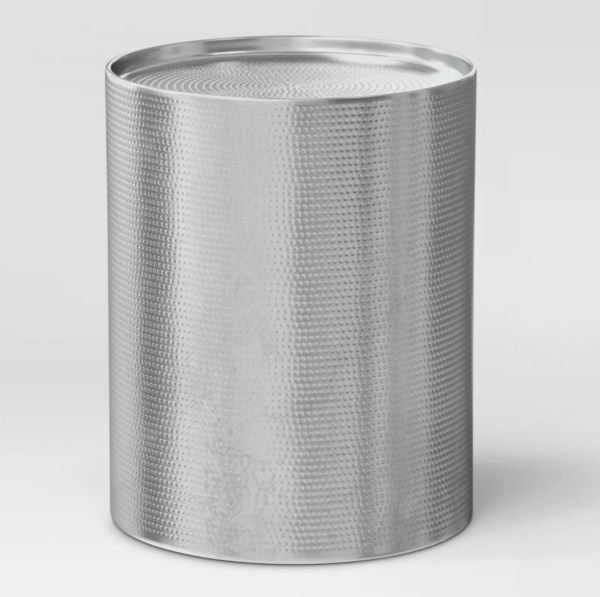 NEW Silver Hammered Cylinder 22quot; Drum Accent Table from Project 62
