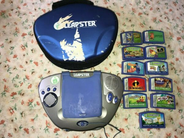 2003 Leapster Leap Frog Gray Blue Learning Gaming System Stylus 11 Game Disney $40.00