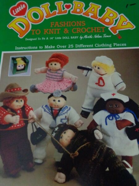 "Little Doll Baby fashions to knit & crochet fits a 14"" doll 1985"