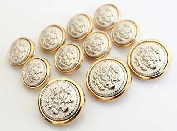 11 Pieces Polished Gold Metal Blazer Button Set Lion for SuitsCoat Jacket $7.99