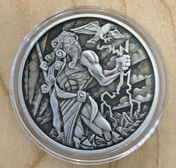 SHIP TODAY ** 2020 Tuvalu 1 oz Silver Gods of Olympus Zeus Antique Mint Capsule