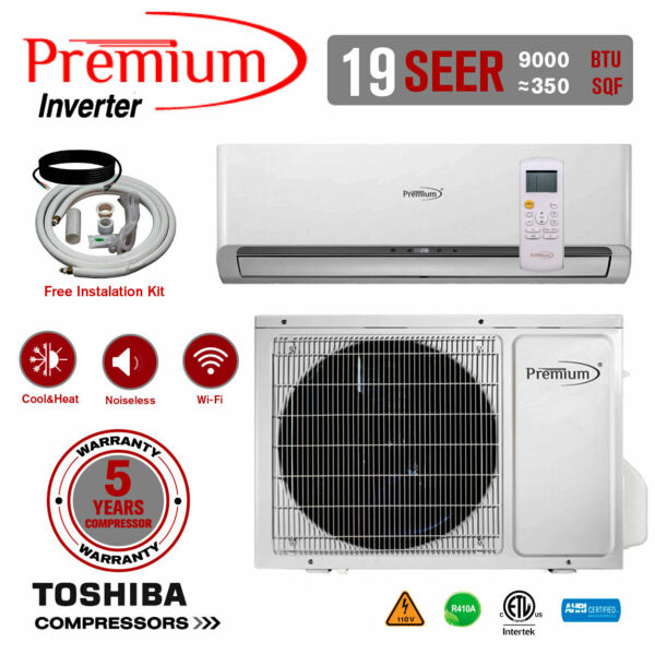 9000 BTU Air Conditioner Mini Split 19 SEER INVERTER AC Ductless Heat Pump 110V $559.99